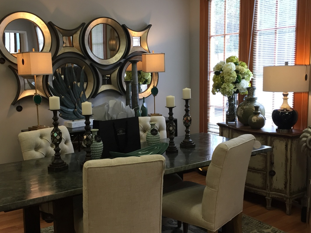 Inside the studio dreambridge design llc interior design and zinc top dining table in parquet design cream tufted dining chairs key hole mirror grouping geode buffet lamps mozeypictures Choice Image